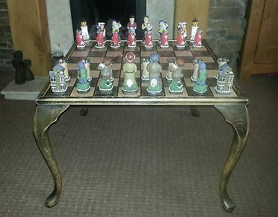 """Large Painted Golf Themed Chess Set And 24"""" Hand Made Wooden Table Chess Board"""