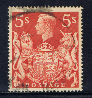 Great Britain #250(4) 1939 5 shilling George VI & Royal Arms Used CV$2.25