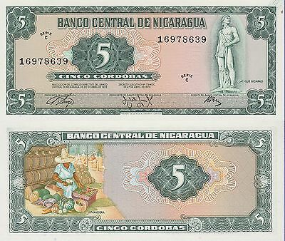Nicaragua 5 Cordobas Banknote 1972 Uncirculated Condition Cat#122-8639