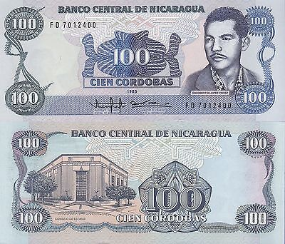 Nicaragua 100 Cordobas Banknote 1985 Uncirculated Condition Cat#154-2400