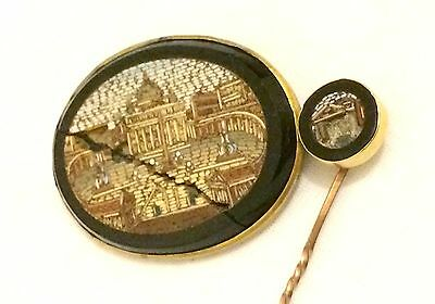 Antique Gold Italian Grand Tour Micro Mosaic Brooch & Pin Set: Spares / Repair