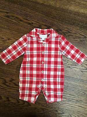 Little White Company Newborn Red & White 100% Cotton Sleepsuit New RRP £22