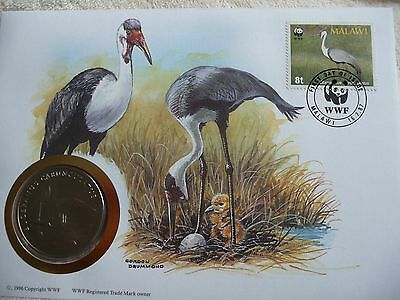 WWF 30 years First Day Cover with Medallion of Wattled Crane 1986