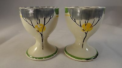 2 Two Burleigh Ware Rare Art Deco Dawn Egg Cups