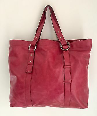 Sequoia Cherry Red Oxblood Real Soft Leather Large Tote Bag