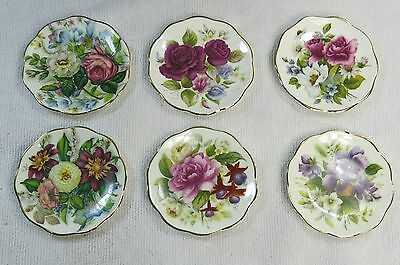 Beautiful Vintage English Bone China Floral Flower Butter Pat lot of 6