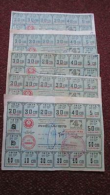Vietnam Female Fabric Ration Coupon 1979, Lot of 5