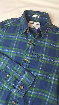 Abercrombie and fitch boys blue and green checked long sleeve shirt size kids XL