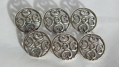 Set of 6 Solid Silver Victorian Buttons Birmingham 1898 by Lawrence Emanuel