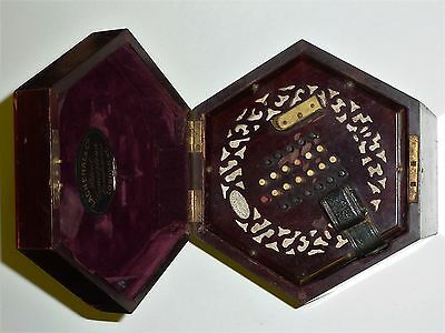 Antique Lachenal concertina 48 buttons in rosewood case