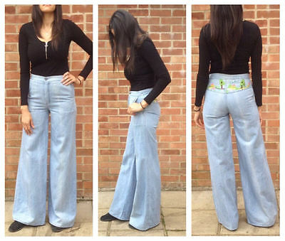 Vintage 60s 70s Blue Embroidered Flare Bell Bottom Denim Jeans 28/34 UK 8 10