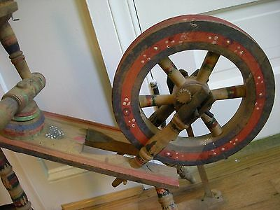 Antique Hungarian Saxony Flax Spinning Wheel Hand Painted Functional