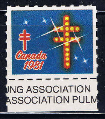 Canada #80d(3) 1981 Christmas Seals CROSS on blue MNH