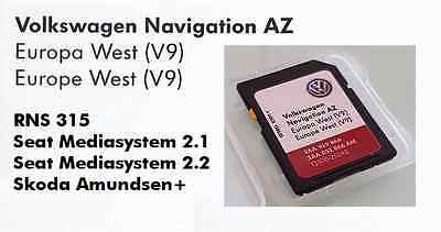 Volkswagen Skoda Seat Rns 315 rns315 2017 sd card map update V9 Europe West
