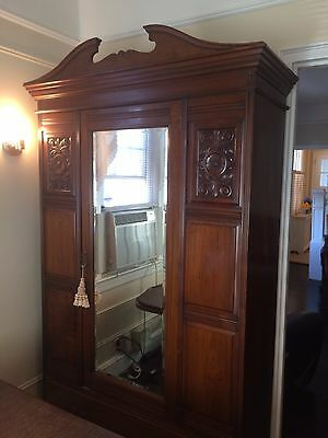 Antique 1929 Rosewood Closet-Style Amoire with Large Bottom Drawer