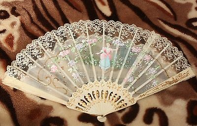 Vintage Victorian Hand Fan - Lace and Floral Victorian Decorative Ladies Fan