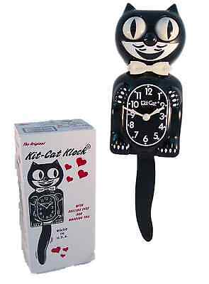 "New Classic Kitty-Cat KC1 Classic Black Clock, 12 3/4"" Overall  height Kit Kat"