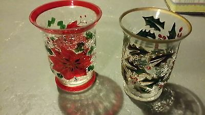 "2 6"" Celebration Christmas Crackle Glass Tea Light Vases"