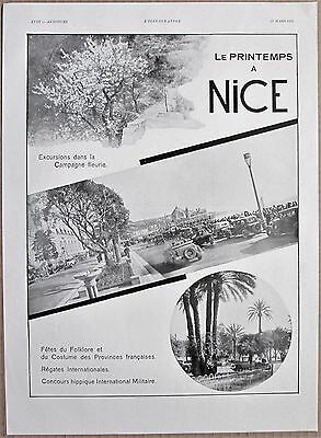 ORIGINAL Vintage French 1932 SPRING IN NICE Travel Ad PHOTO ADVERT