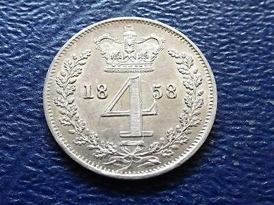 Queen Victoria Silver Maundy Fourpence 1858 4D Groat Great Britain Uk
