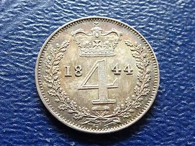 Queen Victoria Silver Maundy Fourpence 1844 4D Groat Great Britain Uk