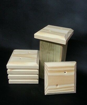 """6 x QUALITY PINE FLAT FENCE POST CAPS 4"""" x 4"""" x 1"""" TO SUIT 3"""" x 3"""" POSTS"""