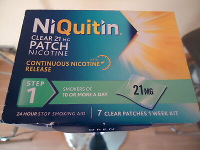 NiQuitin Clear 21mg Nicotine Patch - Step 1 - 7 Patches - BNIB !!!