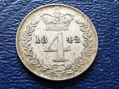 Queen Victoria Silver Maundy Fourpence 1842 4D Groat Great Britain Uk