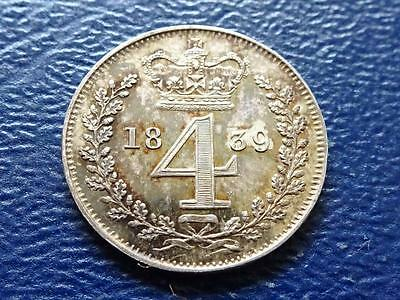 Queen Victoria Silver Maundy Fourpence 1839 4D Groat Great Britain Uk