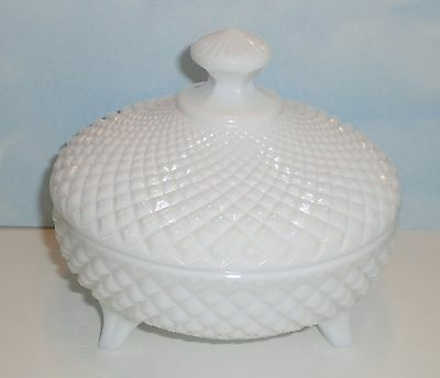 Vintage Milk Glass Westmoreland Covered Candy Dish 3 ft English Hobnail Diamond