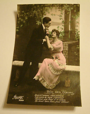 Suzy 599 Song Card French Postcard Duo Des Coeurs