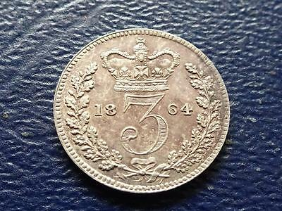 Queen Victoria Silver Maundy Threepence 1864 3D Great Britain Uk