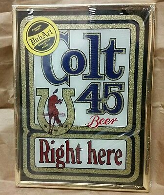 New Colt 45 Stamford Pub Art Beer Right Here Mirror Vintage man cave beer sign