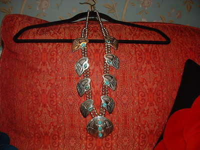 "Rare Huge Vintage Navajo Badger Paw ""squash Blossom"" Necklace -Turquoise Stones"