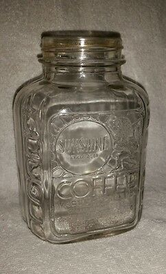 Vintage Sunshine Brand Coffee Jar Springfield Grocer Co One Pound Container