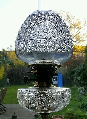 Victorian Nouveau Evered Co Heavy Crystal Baccarat Cut Glass Oil Lamp Shade Font