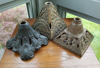 3 x Antique Victorian Cast Iron Oil Lamp Bases Dragons