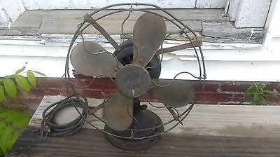 "Vintage Graybar Shedd Electric Company 13""  Speed 4 Brass Blade Fan Works"