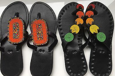 African beaded flip flop leather sandals, handmade in Tanzania, East Africa.