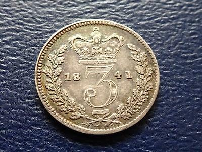 Queen Victoria Silver Threepence 1841 3D Great Britain Uk