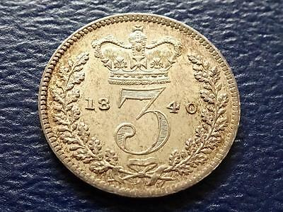Queen Victoria Silver Maundy Threepence 1840 3D Great Britain Uk