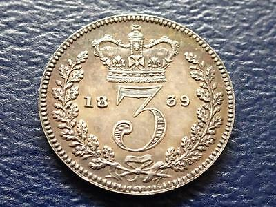 Queen Victoria Silver Maundy Proof Threepence 1839 3D Great Britain Uk