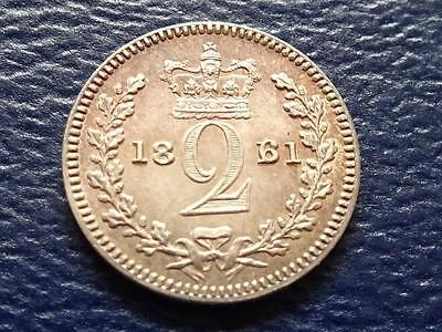 Queen Victoria Silver Maundy Twopence 1861 2D 6 / 1 Overdate Great Britain Uk