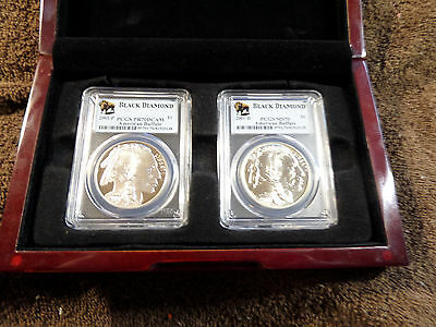 2001 American Buffalo Commemorative Silver Dollar - PR70DCAM & MS70 w/case