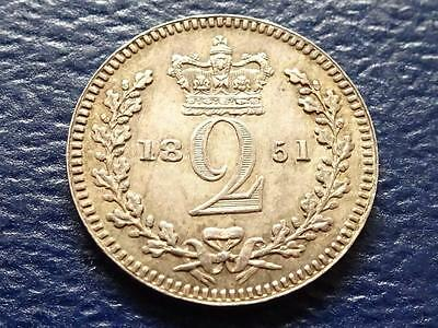 Queen Victoria Silver Maundy Twopence 1851 Great Britain Uk