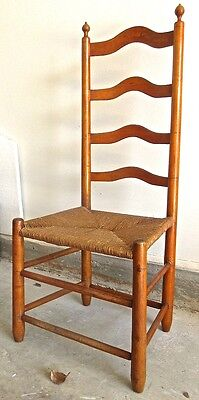 18th c. Tiger Maple & Maple Slat Back Side Chair Pennsylvania