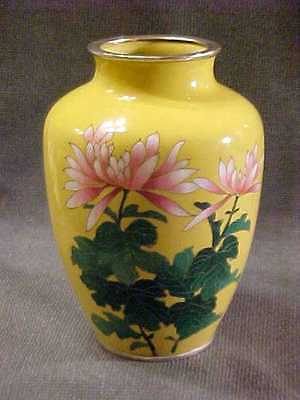 Vintage Japanese Cloisonne Silver Wire Vase With Peony Inaba Or Ando