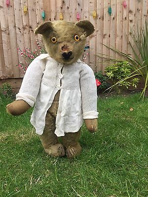 Lottie~ V.Rare Aerolite Button MoonEye Chad Valley Large Antique Old Teddy Bear