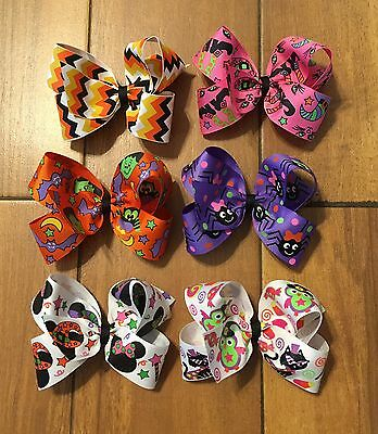 Lot Of 6 Girl's Halloween Hair Bows Bows - 5 Inch Hairbows - Boutique Hair Bows