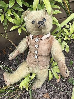 Charlie - 1920s Boot Button Eyes, Farnell Mohair Teddy Bear Antique Old English